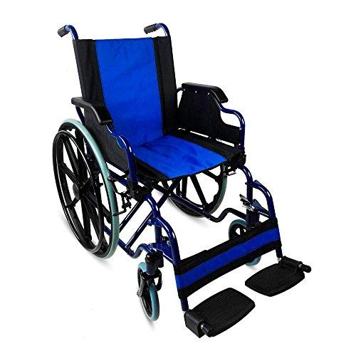 Moblicinic, Giralda, Standard-Rollstuhl, Faltbar, Klapparmlehnen, Europäische Marke, Blaue Strukture, Schwarzer Sitz, Sitzbreite 46 cm