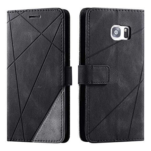 Hülle für Samsung Galaxy S7 Edge, SONWO Premium Leder PU Handyhülle Flip Case Wallet Silikon Bumper Schutzhülle Klapphülle für Galaxy S7 Edge, Schwarz