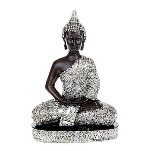Große Thai-Buddha-Figur, sitzend, 34 cm, silberfarben