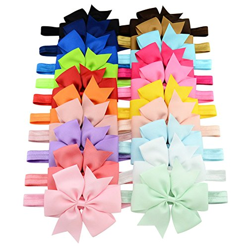 Baby Girls Headbands - Girl's Cute Hair Bows Hair bands - The Best Unique Baby Gift for Girls - 20Pcs Different Colors In Bag