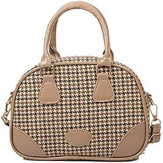 GUMAOPAJIAAA Bag, Youth Ladies Simple Versatile Crossbody Bag Retro Leather Top-handle Bag Girls Plaid Pattern Shoulder Ba...