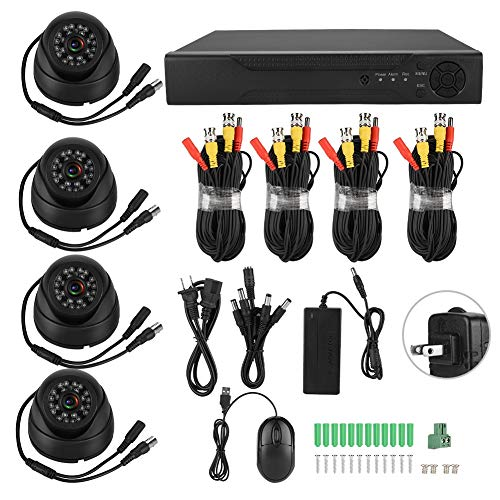 Deror 720P 4CH Coassiale AHD Videosorveglianza 5-in-1 Kit Telecamera di Sicurezza HD 100W Pixel(Normative Americane (100-240v))