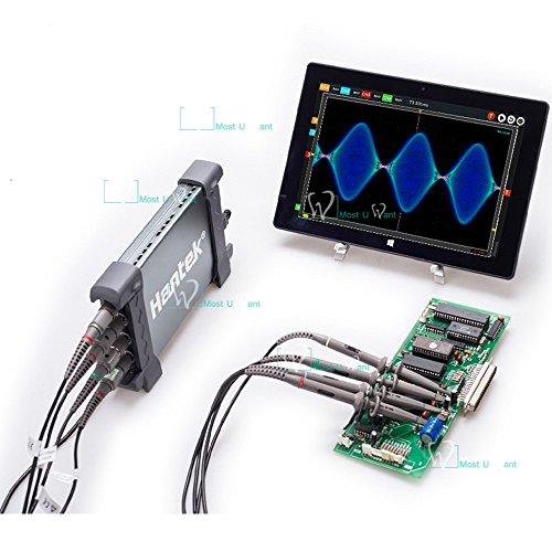 Hantek - Osciloscopio digital para PC (100 MHz, 400.000 fps, 1 GSa/s, velocidad de muestreo en tiempo real, 128 Mpts, profundidad de memoria 80.000 secciones, fragmentación)