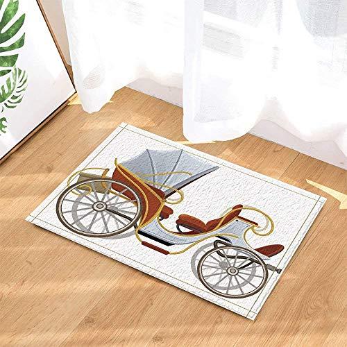 xuelizhou Cartoon Tekening op witte achtergrond Carriage Red Seat Yellow Outline Mode rechte hoek badkamer mat deurmat kinderen 40X60CM