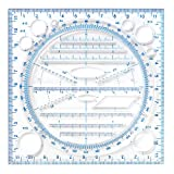 Multifunzionale Disegno Righello, Righello di Disegno Veloce Multifunzionale, Linea Parallela Verticale Disegna Curva Rotonda, Disegno Modello, Scuola Righello da Modello di Geometria Matematica (Blu)