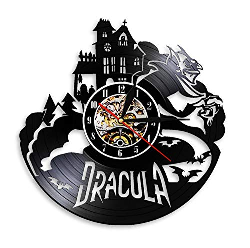 Dracula's Castle Laser Etched Vinyl Wall Clock Gothic Bats Led Light Vinyl Record Watch Night Lamp 12inch
