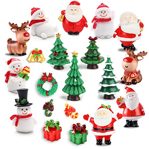 JUSTDOLIFE Christmas Micro Landscapes, 20 Pack Xmas Miniature Figurines Santa Claus Snowman Christmas Tree Reindeer Gifts Mini Resin Landscape for Xmas Home Party Cake Toppers Decor