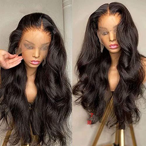 HD Transparente 13 × 4 Frente de encaje Cuerpo del cabello humano Pelucas onduladas Natural Negro Brasileño Remy Pelo suave Pelucas de encaje Sin glorieduras Pelízica natural Playa Preplucidada con ca