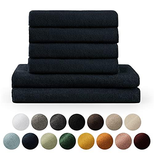 Blumtal Set de 2 Toallas de Baño (70x140cm) + 4 Toallas de Manos (50x100cm) - Toallas Suaves y Absorebentes, 100% algodón, Certificado Oeko-Tex 100, Azul Oscuro