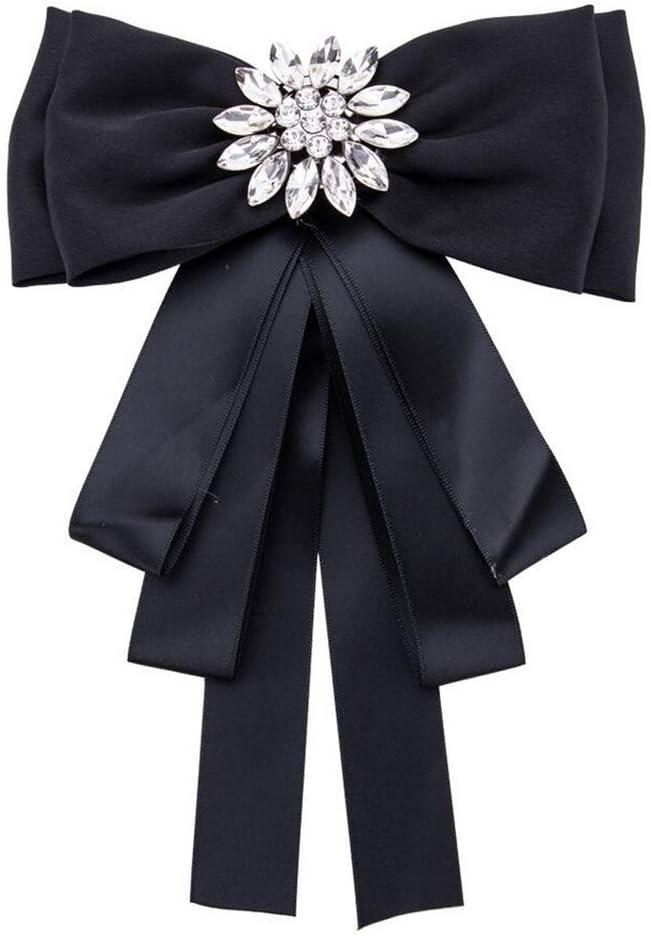 Pour f/ête de mariage Pour femme et fille Noir Broche n/œud papillon pr/é-nou/é avec strass et cristaux