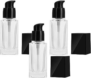 Solustre 3Pcs Glass Pump Bottle Foundation Bottle Refillable Empty Bottle Makeup Cosmetic Atomizers for Foundation Cream L...