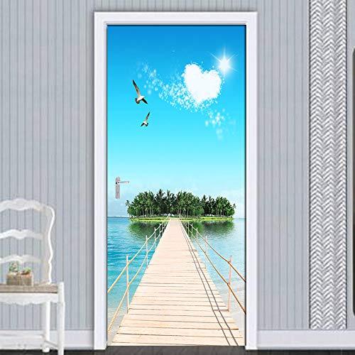 3D Deurfolie Deurfolie 3D Binnendeur Sticker Muurschildering Behang Waterdicht Zelfklevend 3D Houten Brug Eiland Landschap Deur -As_Shown_95Cm_X_215Cm