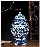 Antiguo Porcelana Jarrn Azul Y Blanco Cermica Florero Templo Jar Jarrn Hecho A Mano Estilo Ming China para El Hogar Decoracin Sala De Estar-b H30cmxw18cm