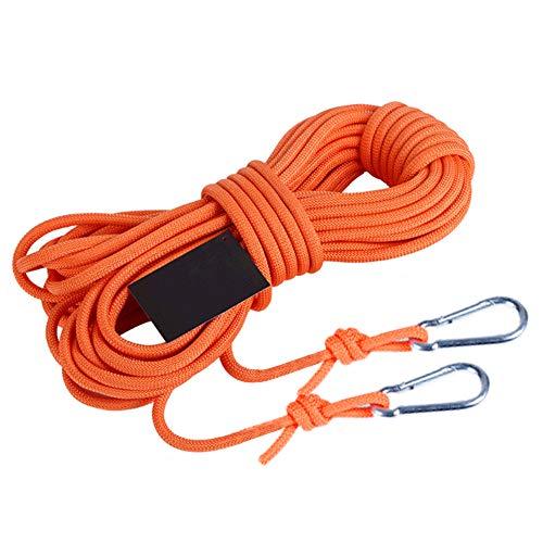 Lin-Tong Kletterseil Sicherheitsseil mit Hooks High Strength Cord 10M(32ft)/15M(49ft) Durchmesser 6mm, 5KN - für Survival Sport Kletter etc