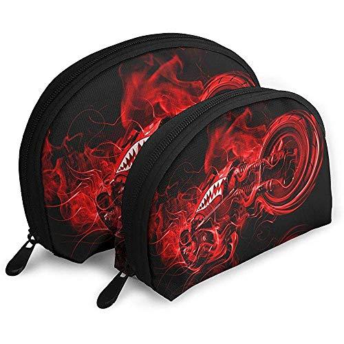 Red Flame Shark Moto Bolsas portátiles Bolsa de Maquillaje Bolsa de Aseo, Bolsas de Viaje portátiles multifunción Pequeña Bolsa de Embrague de Maquillaje con Cremallera