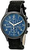 Timex Men's TW4B04200 Expedition Scout Chrono Black/Blue Leather Slip-Thru Strap Watch