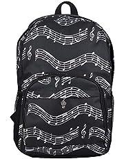 loonBonnie Gran Capacidad Hombres Mujeres Durable Oxford Tela Mochila Casual Music Note Impreso Unisex Sport Travel Student School Bag