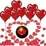 HOWAF 12pcs Rouge Ballons de Coeur 18 Pouces, 100pcs Bougies Coeur...