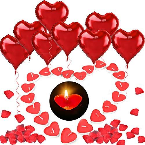 HOWAF 12 18in Grande Corazón Rojo Globos de Aluminio,100 Amor Corazón Velas Románticas, 500 Pétalos de Rosa Roja de Seda para Fiesta de San Valentín Bodas Compromiso Decoración Mesa Casa Romántico