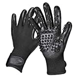 Pet Grooming Gloves, Juqiboom Gentle Hair brushing tools for Dogs, Cats and Horse, Pet Fur Remover for Furniture, Flexible & Adjustable Pet Brushing Glove Kit, Pet Supplies for Animals with hair