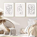 MKWDBBNM Línea Abstracta Carteles e Impresiones Mujeres Cuerpo Beso Lienzo Pintura Pared Arte imágenes Dormitorio Sala de Estar decoración del hogar | 42x65cmx3 sin Marco