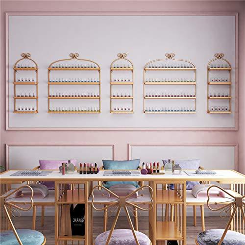 household products An der Wand montiertes Nail Art Rack, 4-lagiges Metallwand-Nagellack-Display-Rack, Kosmetik-Aufbewahrungsregal für den Nagelladen im Salon für ätherische Öle/Parfums
