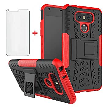 Phone Case for LG G6 with Tempered Glass Screen Protector Cover and Stand Kickstand Hard Rugged Hybrid Protective Cell Accessories LGG6 ThinQ LG6 Thin Q G 6 Plus G6+ 6G VS988 H872 Cases Men Black Red