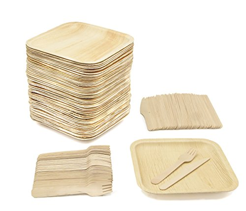 Party Pack of 150 Eco-Friendly Dinnerware - 50 Disposable 8' Square Palm Leaf Plates, 50 Wood Forks, 50 Wood Knives