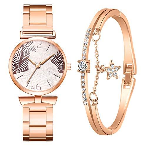 Yue668 ⌚️Conjunto de reloj de cuarzo Diamante de agua Primavera 2021, reloj de pulsera para mujer con pedrería de aleación, reloj de pulsera, collar con joya para el día de la madre