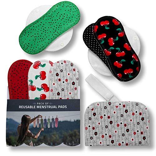 Waschbare Stoffbinden aus Baumwolle, 6er Pack (S+M) Wiederverwendbare Damenbinden ohne Plastik, MADE IN EU, Reusable Sanitary Pads, dünn wieder Bio Stoff Binden für Menstruation, für empfindliche Haut