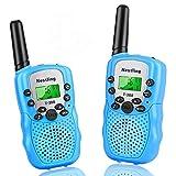 Nestling Walkie Talkie Niños Pantalla LCD de 8 Canales Linterna incorporada VOX 10 Tonos de Llamada Walkie Talkie Niñas Regalo de Juguete para niños (2pcs Azul)