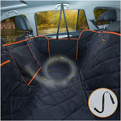iBuddy Dog Car Seat Covers for Back Seat of Cars/Trucks/SUV, Waterproof Dog Car Hammock with Mesh Window, Side Flaps and Dog Seat Belt, Durable Anti-Scratch Nonslip Machine Washable Pet Car Seat Cover