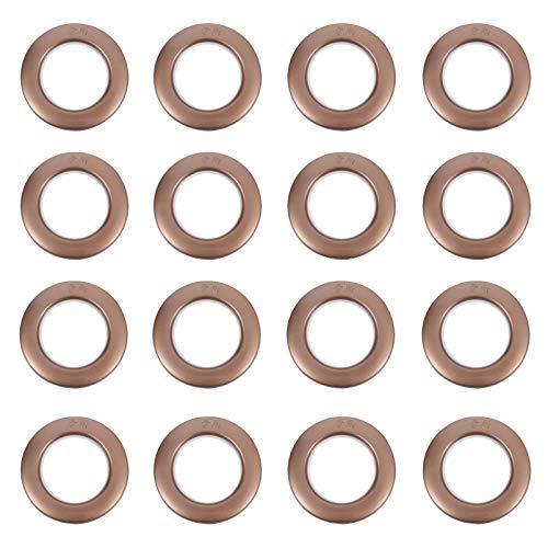 TEHAUX 75 Piezas Ojales de Cortina Anillos de Ojal de Cortina de Plástico Nanoescala de Bajo Ruido Silenciador de Anillo Romano Deslizante (Café)