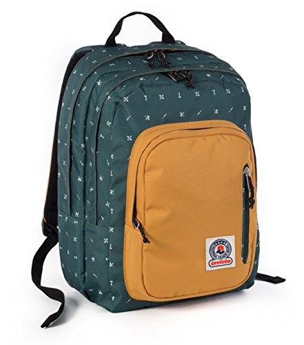 ZAINO INVICTA - FLIP - Verde Giallo Fantasy - tasca porta pc e Tablet padded - scuola e tempo libero americano 28 LT