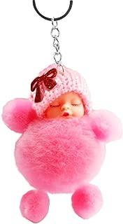 Celiy Cute Sleeping Baby Bowtie Fluffy Pompom Fur Plush Doll Keychain Keyring Key Ring, Toys St. Patrick Easter Gifts