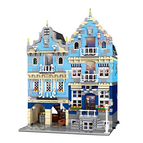 Oeasy Modular Townhouse European Shop Building Sets, 3016Pcs Creator House Architecture Model with LED Lights, Building Blocks Compatible with Lego