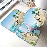 Summer Blue Sky Beach Mi-ck-ey Mo-Use - Juego de 3 alfombrillas de baño absorbentes y antideslizantes para el baño, con contorno acolchado y tapa para el inodoro