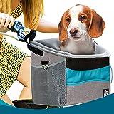 Dog Carrier | Pet Carrier Bicycle Basket Bag for Puppies & Cats | Adjustable Size,Comfy & Padded Shoulder Strap, Secure Top Drawstring, Removable Inner Pad & Side Pockets (Grey/Blue)