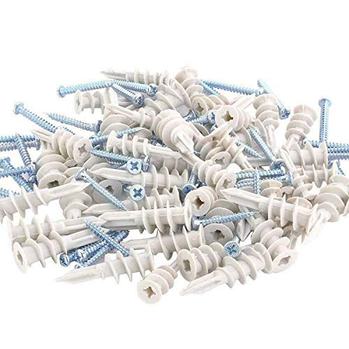 Selbstbohrender Gipskartondübel,Trockenbau anker mit Edelstahlschrauben Sets für einfache Montage in Gipskarton- und Gipsfaserplatten 100 Stück