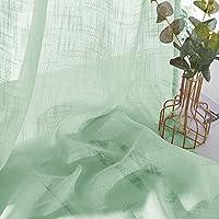 PONY DANCE Cortina Verde Fresco Visillos Voile Lino Cortinas Cortas para Ventanas Salon Dormitorio (2 Piezas, An 132 x Al 240 CM) / Telas Suaves Resistentes Estilo Moderno para Cocina Oficina