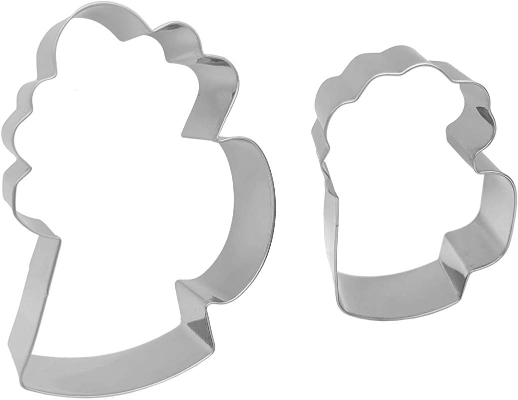Antallcky Drink Mug Cookie Cutter Set 2 Piece Beer Beverage Drink Cup Stainless Steel Biscuit Molds Fondant Cookie Cutter Set Pastry Mold 1 Inch Depth