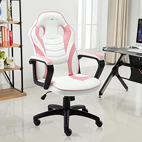 Bonzy Home Gaming Chair Racing Style Office Swivel Computer Desk Chair Ergonomic Conference Chair Work Chair with Lumbar Support PU Leather (Pink)