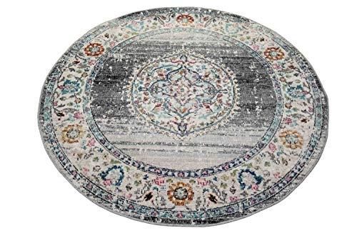 Teppich Orient Teppich Outdoor Wohnzimmerteppich Vintage in grau blau Größe 160 cm Rund