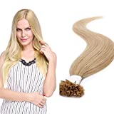55cm - U Tip Extensiones de Keratina 1g * 50 Mechas Cabello Humano Pelo Natural Nail Tip Hair Extensions - 24# Rubia Natural