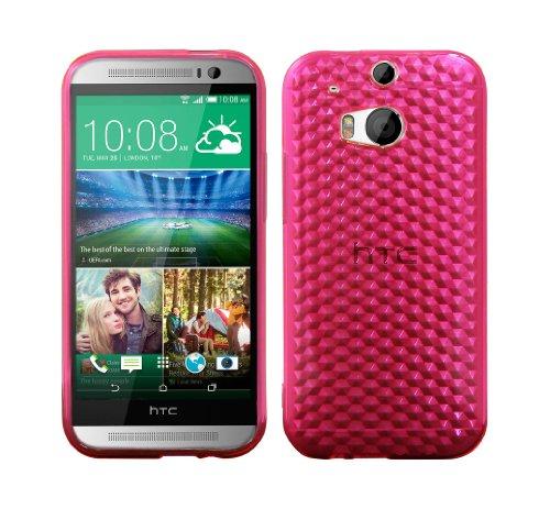 Luxburg® Diamond Design Custodia Cover per HTC One M8 Colore Rosa Quarzo, in Silicone TPU