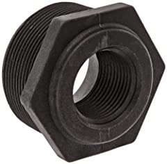 Reducer bushing for connecting two pipes with different diameters and end types Male NPT threads on one end and female NPT threads on the other for connecting pipes with different ends Precision molded in sterilizable polypropylene for dimensional st...