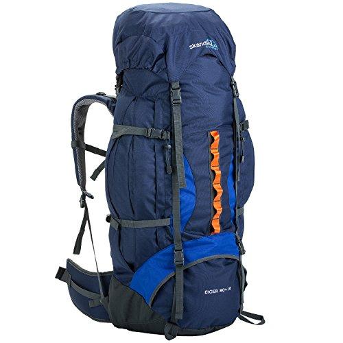 skandika Bogong/Eiger Trekking-Rucksack 45/65 / 80 Liter wasserdicht mit Regenhülle, Hüftgurt, Signalpfeife (Eiger 80+10 (blau))
