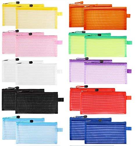 Sooez Zipper Mesh Pouch, 20 Pack Plastic Pencil Pouches Pen Bags Multipurpose Travel Bags for Office Supplies Cosmetics Travel Accessories Multicolor, 10 Colors