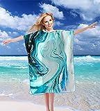 Accappatoio colorato in microfibra per donne e uomini a forma di stella Surf Beach Poncho per il nuoto e immersioni 88,9 x 109,2 cm – verde & oro marmo stampa