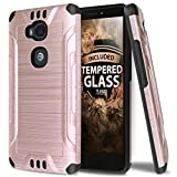 TJS Huawei Sensa LTE Case Tempered Glass Screen Protector, Dual Layer Hybrid Shockproof Resist Rugged Case Cover Metallic Brush Finish with Hard Inner Layer for Huawei Sensa LTE (Rose Gold)